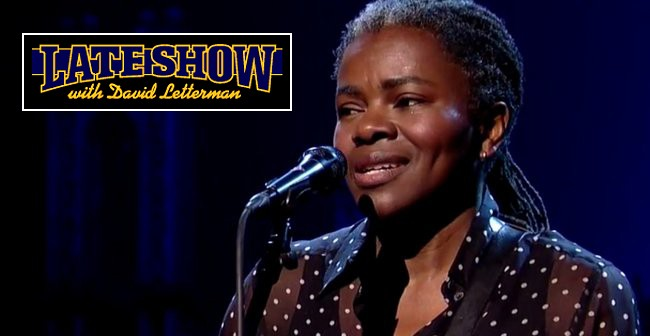 """Tracy Chapman on Letterman performing """"Stand By Me"""""""